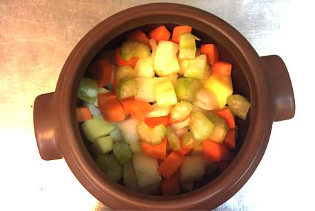 Выложить в горшочек мясо с овощами
