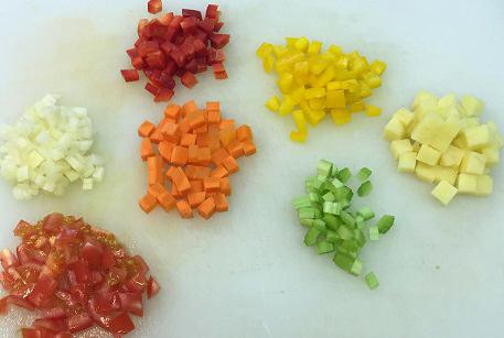 Порезать овощи для суп-гуляш