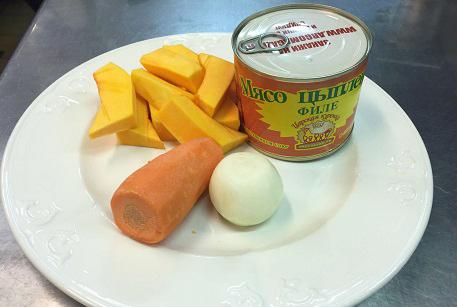 Ингредиенты для крем-супа из тыквы с курицей