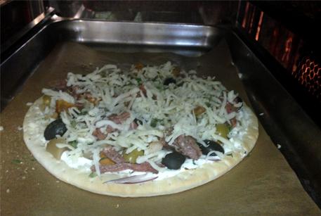 Пицца с говядиной и лесными грибами