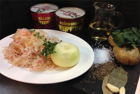 Тушенка говяжья и тушенка из свинины Войсковой Спецрезерв в рецепте для мультиварки